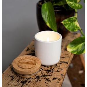 Soy Wax Candle Classic Ceramic container with Bamboo Lid