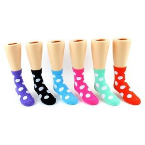 Girl's Novelty Polka Dot Print Crew Socks (Case of 24)